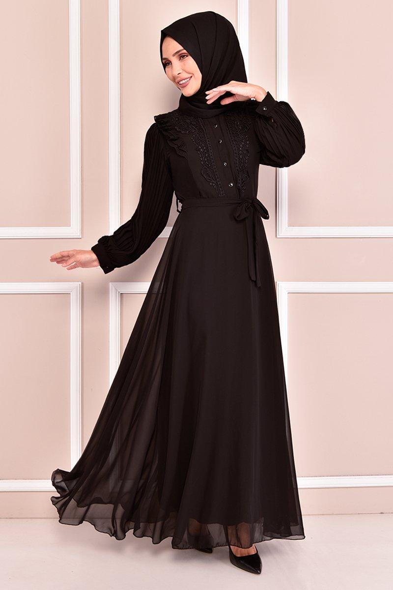 Moda Merve Siyah Kuşaklı Şifon Elbise