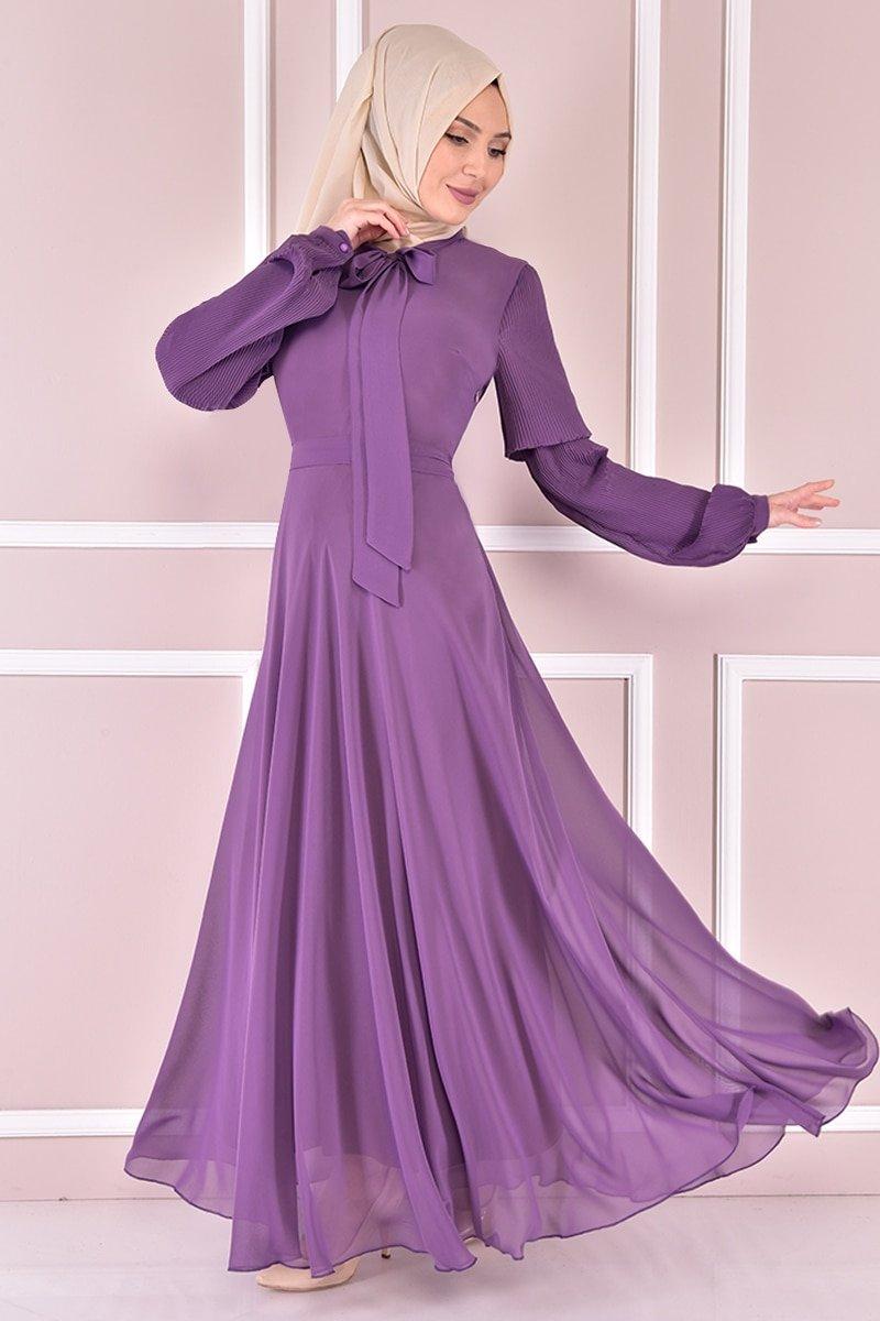 Moda Merve Lila Şifon Elbise
