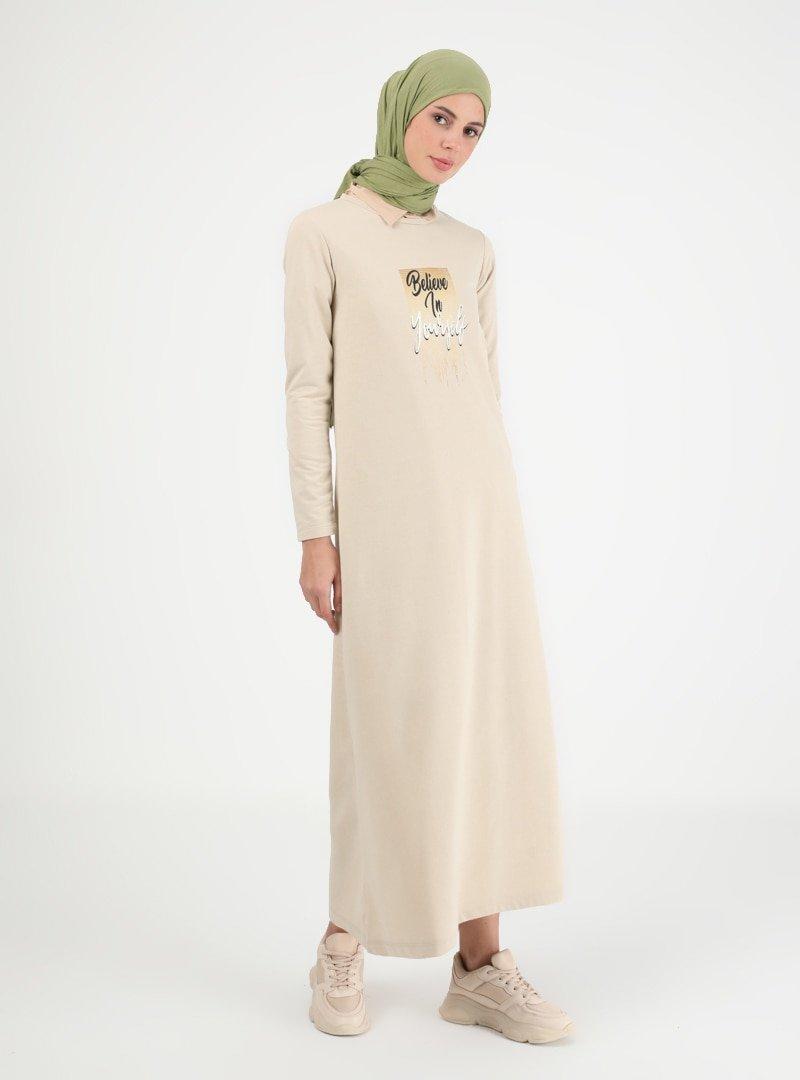 Muni Muni Bej Baskılı Elbise