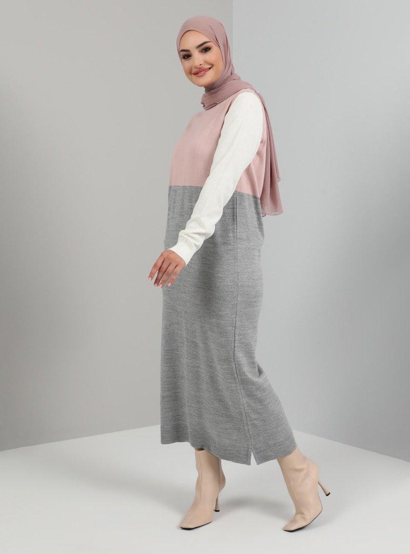 Tavin Pudra Bisiklet Yaka Color Blok Triko Elbise