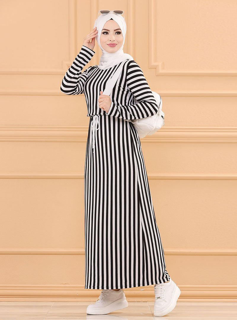 Tofisa Siyah Çizgili Elbise