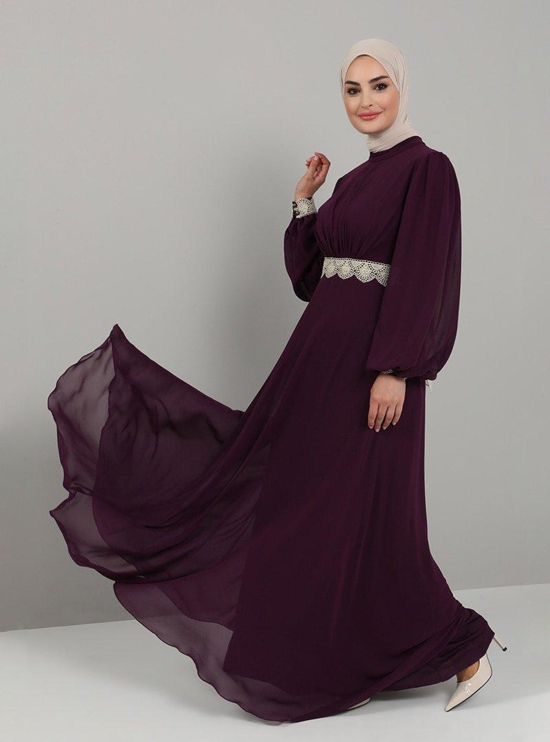 Tavin Mor Bel Ve Kol Ucu Dantel Detaylı Abiye Elbise