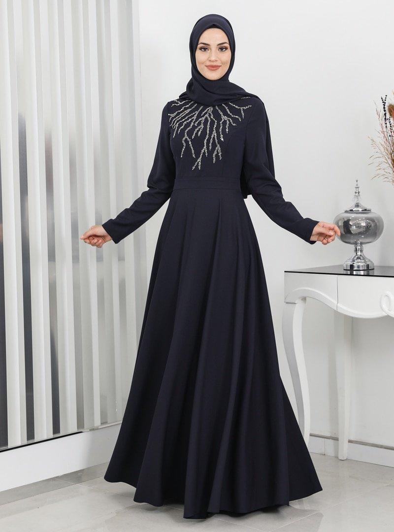 Surikka Lacivert Hilal Abiye Elbise