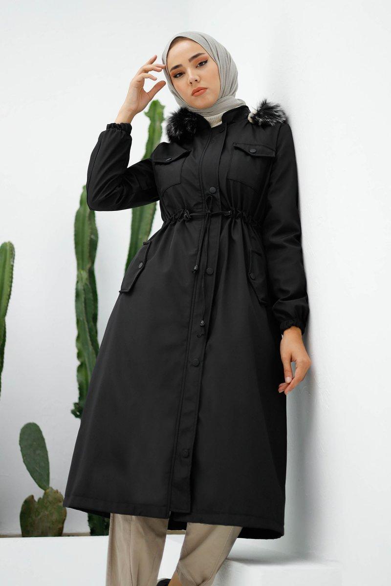 In Style Siyah Ön Cep Kapaklı Kürklü Kaban
