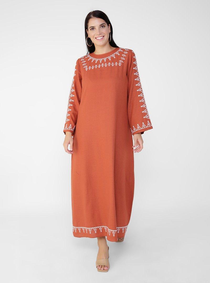 Alia Kiremit Doğal Kumaşlı Büyük Beden Nakış Detaylı Elbise