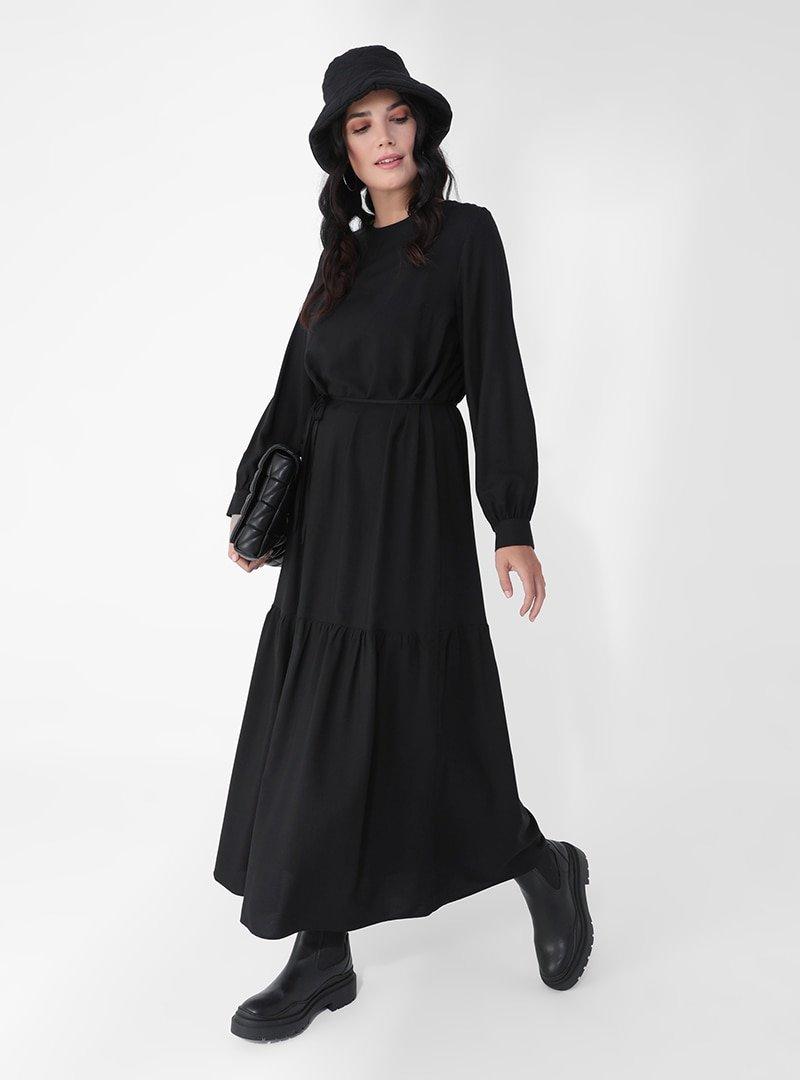 Alia Siyah Büyük Beden Viskon Karışımlı Elbise