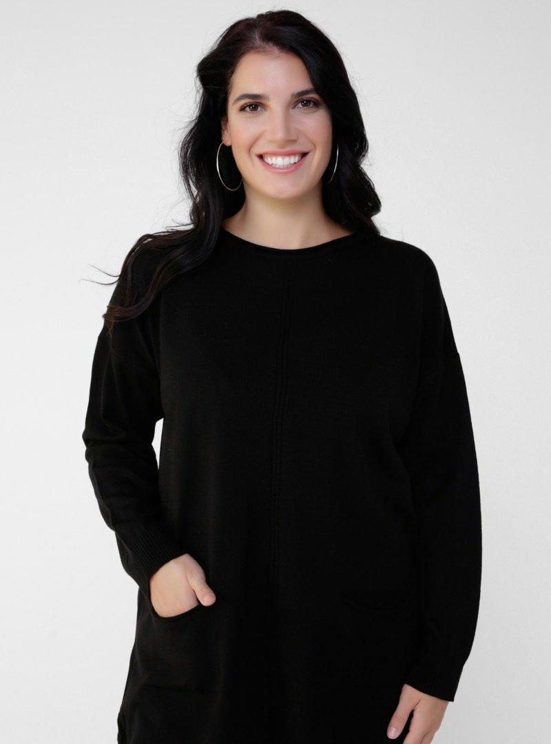 Alia Siyah Büyük Beden Cep Detaylı Triko Tunik