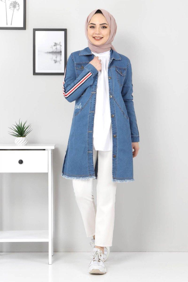 Tesettür Dünyası Mavi Kolları Şeritli Kot Ceket