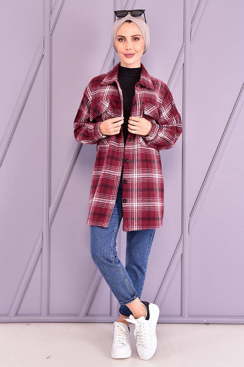 Moda Merve Bordo Oduncu Gömlek