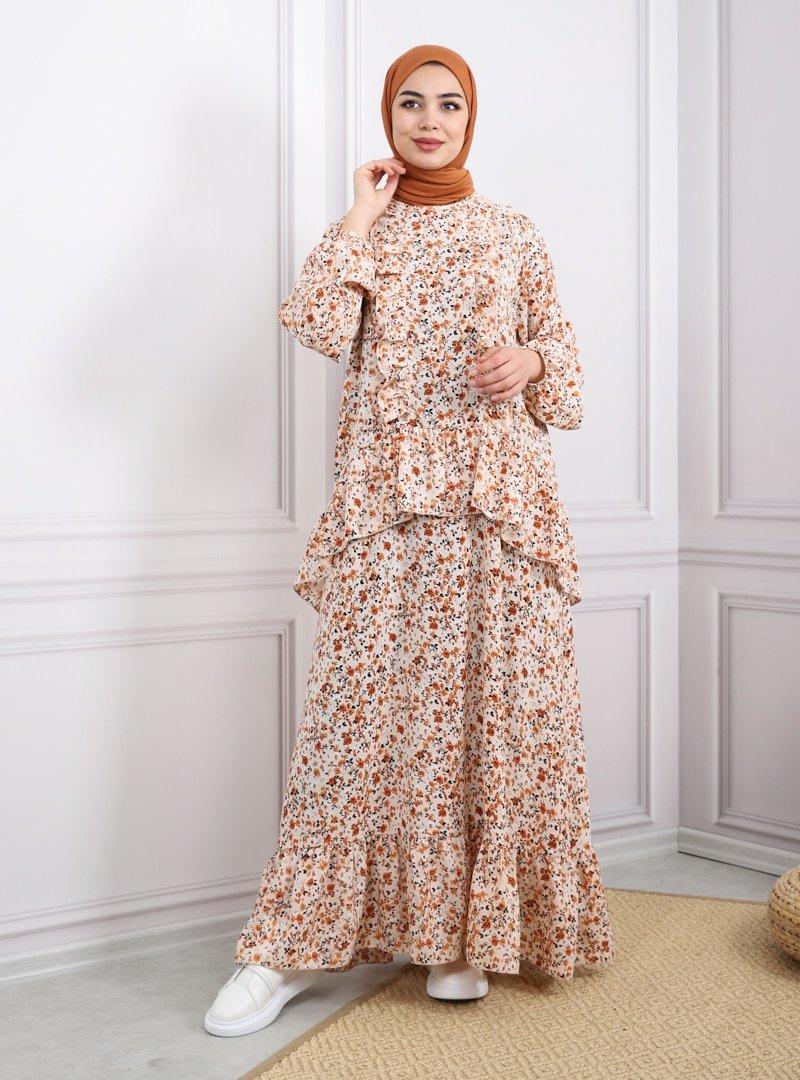 Savewell Woman Pudra Fırfırlı Desenli Perta Elbise