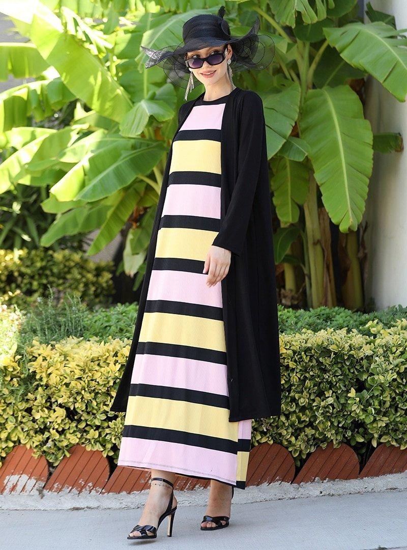 Selma Sarı Design Sarı Kap & Elbise İkili Takım