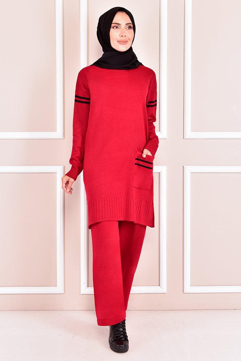 Moda Merve Kırmızı Triko Kombin