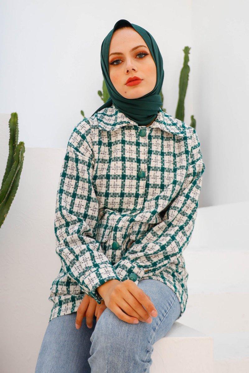 In Style Yeşil Düğmeli Ekose Tüvit Ceket