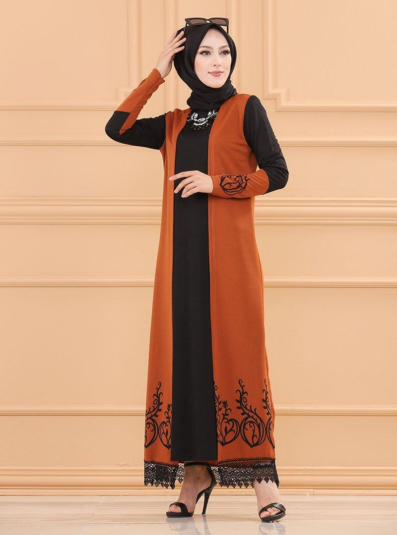 Tofisa Kiremit Eteği Dantel Detaylı Elbise