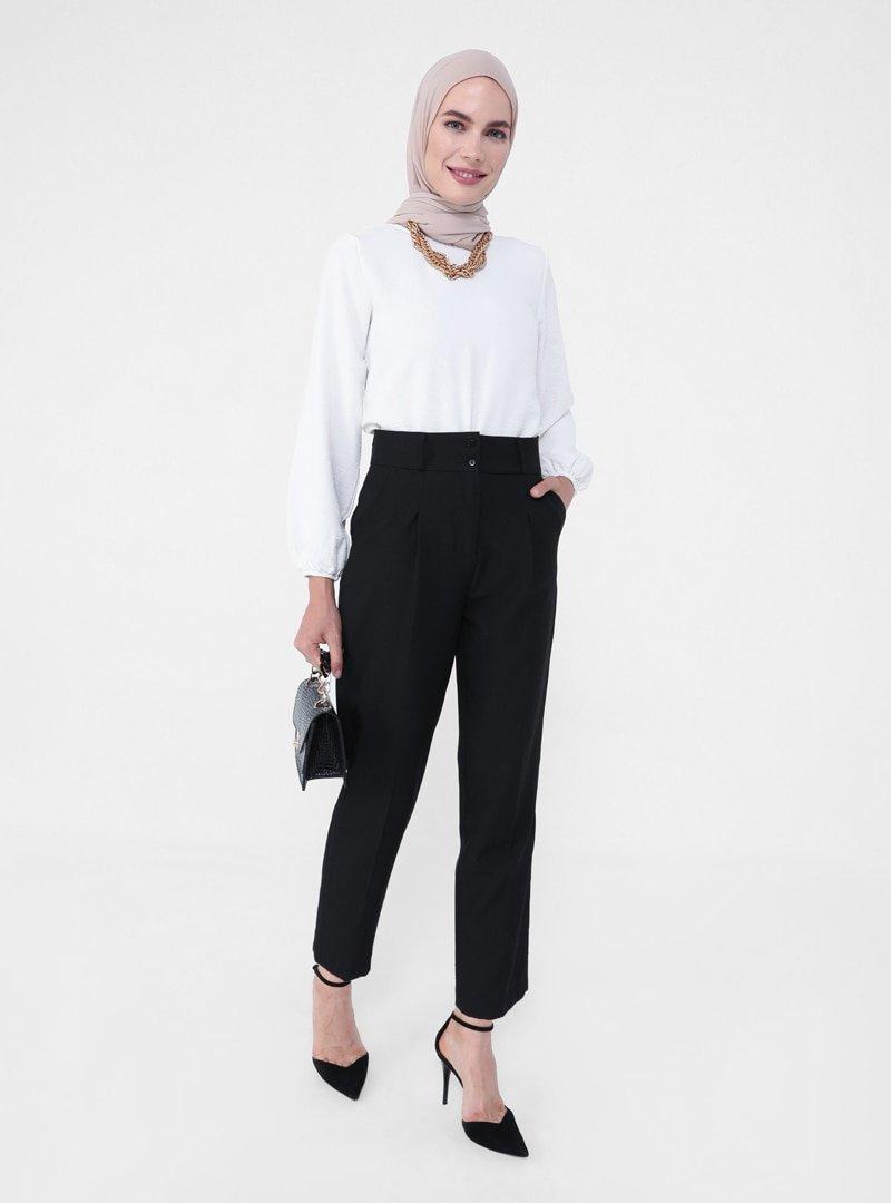 Refka Siyah Pile Detaylı Klasik Pantolon