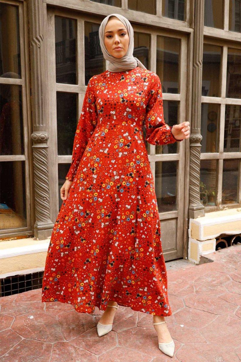 In Style Kiremit Kolu Büzgülü Kasımpatı Desen Elbise