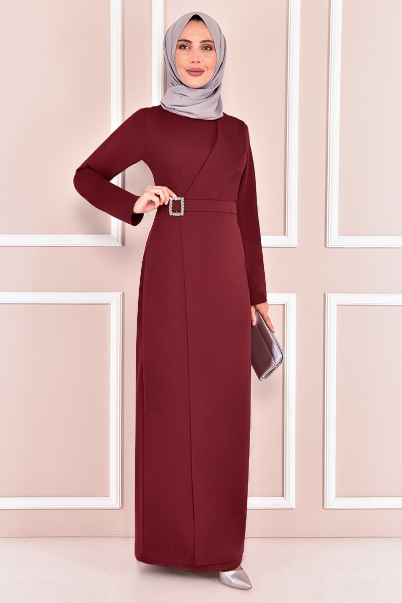 Moda Merve Bordo Tokalı Abiye Elbise