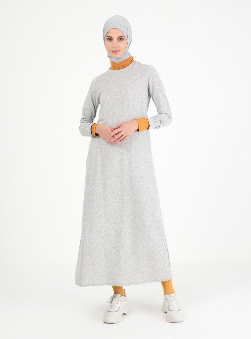 Muni Muni Melanj Gri Sade Elbise