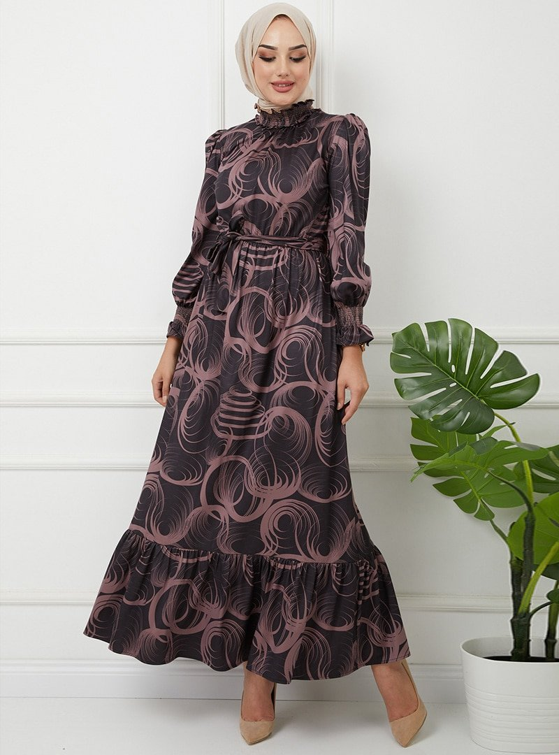 Olcay Lila Yakası Ve Kol Ağzı Gibei Desenli Elbise