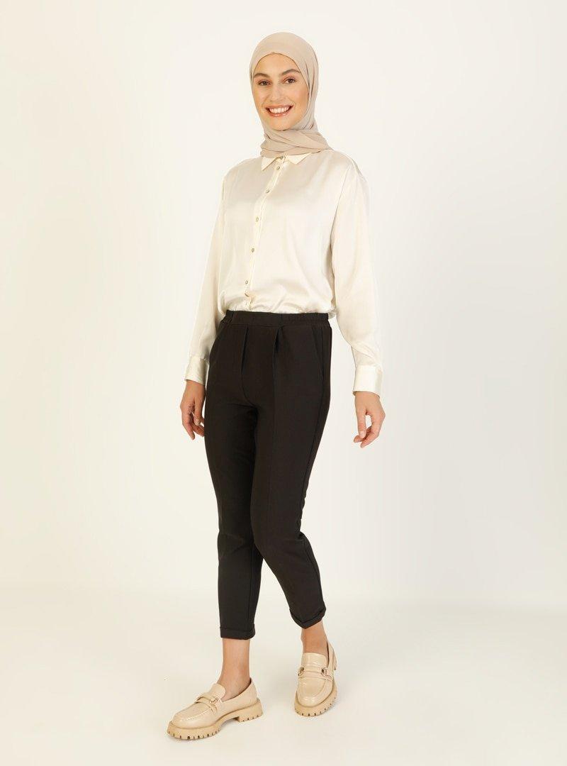 Almera Siyah Beli Lastikli Pantolon