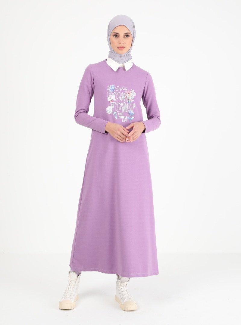 Muni Muni Lila Baskılı Elbise