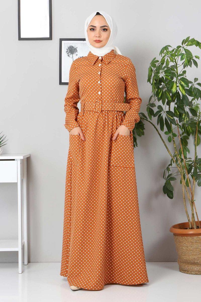MISSVALLE Kahverengi Kemer Detaylı Elbise