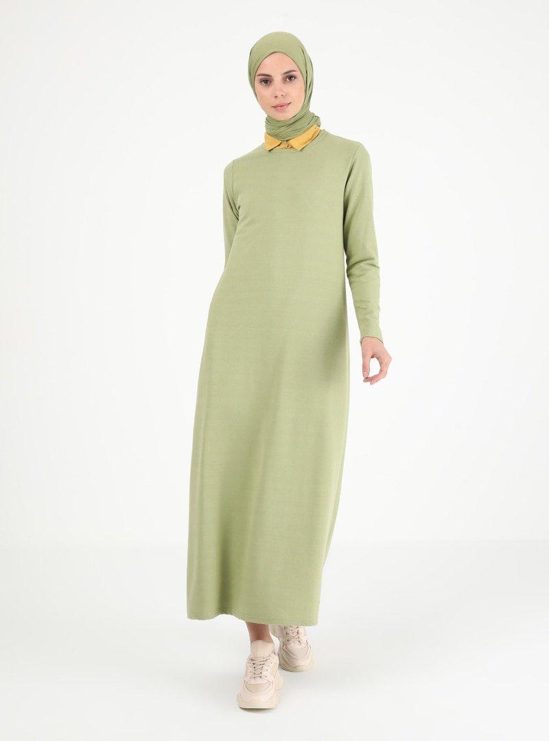 Muni Muni Çağla Yeşili Sade Elbise