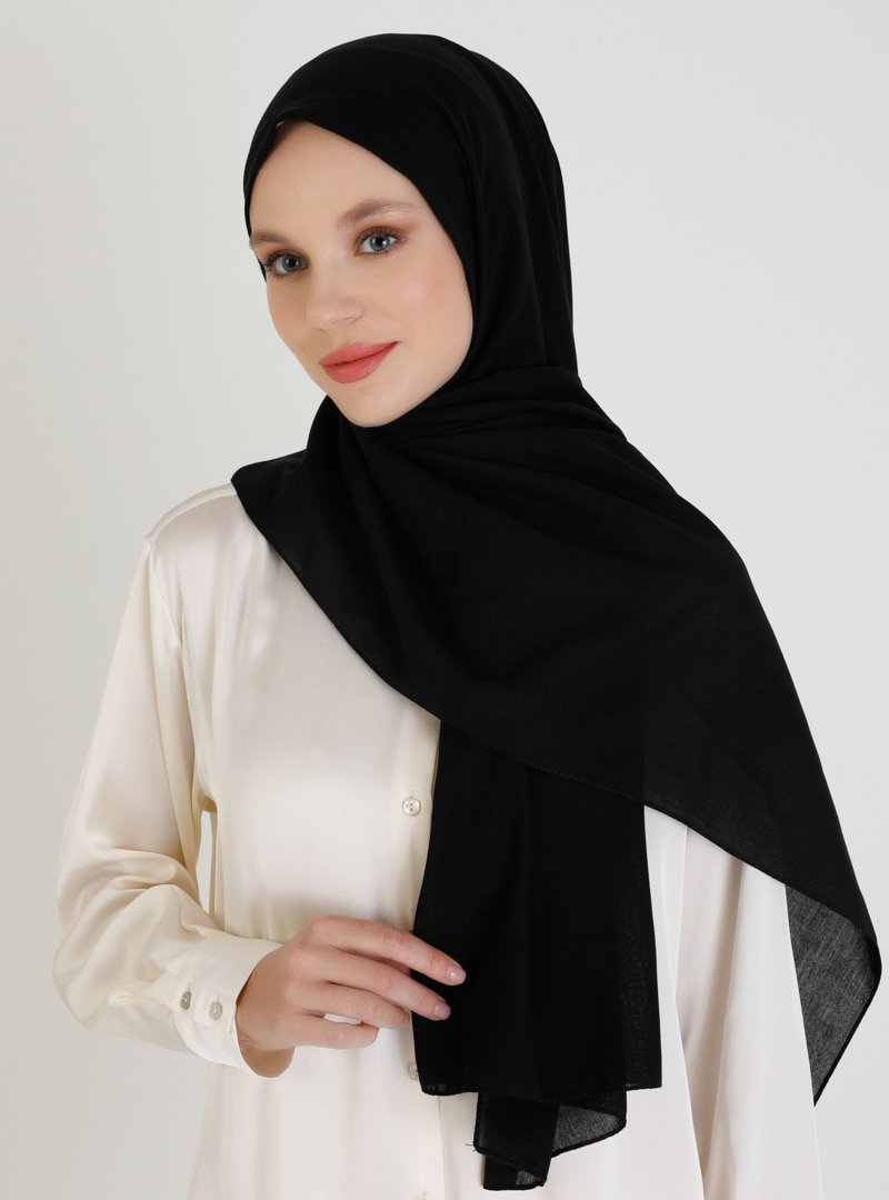Mujerscarfs Siyah Düz Pamuk Şal