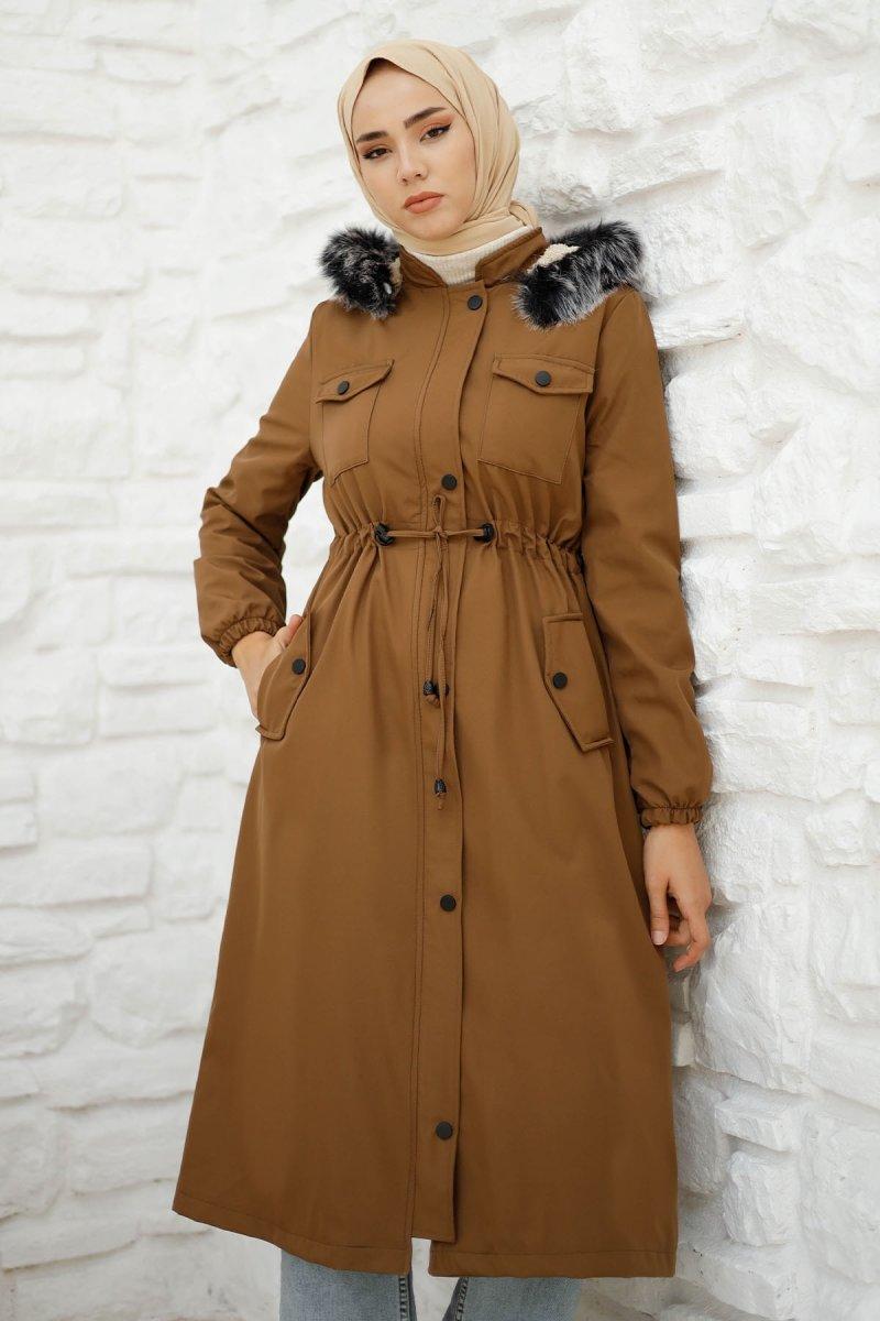 In Style Kahverengi Ön Cep Kapaklı Kürklü Kaban