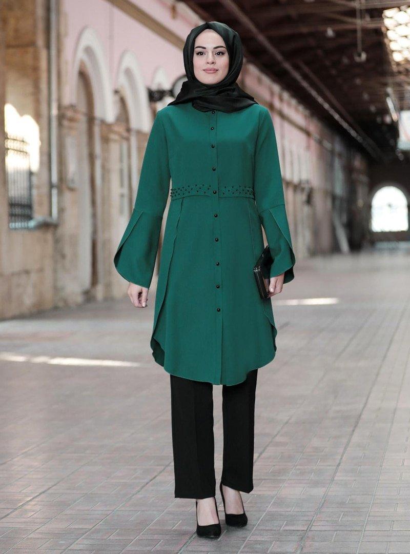 Mimelisa Zümrüt Yeşili Kelebek Tunik & Pantolon İkili Takım
