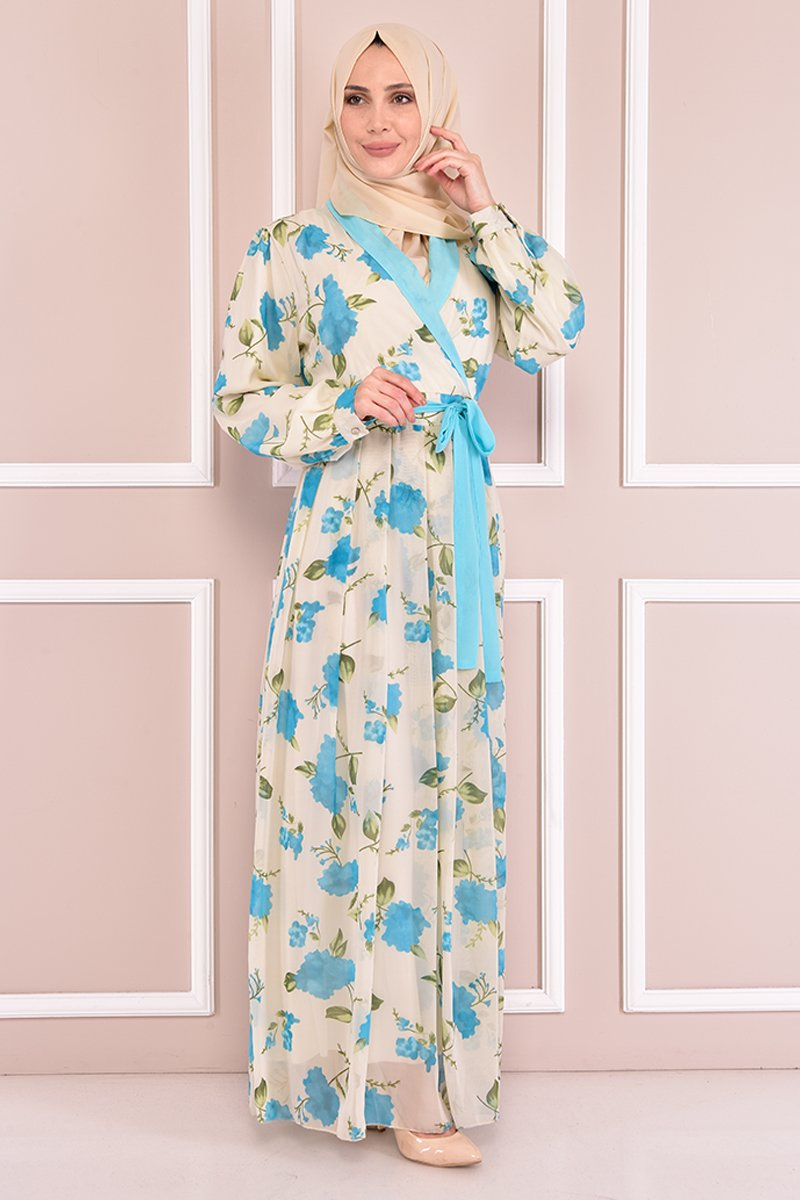 Moda Merve Bebe Mavi Şifon Elbise