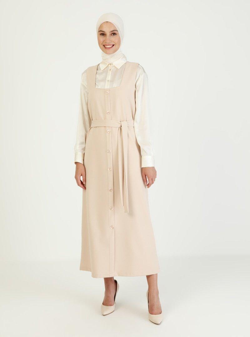İnşirah Bej Kuşak Detaylı Kolsuz Elbise