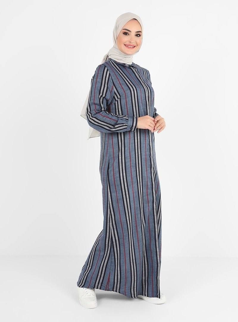 Tavin Gri Doğal Kumaşlı Çizgili Elbise