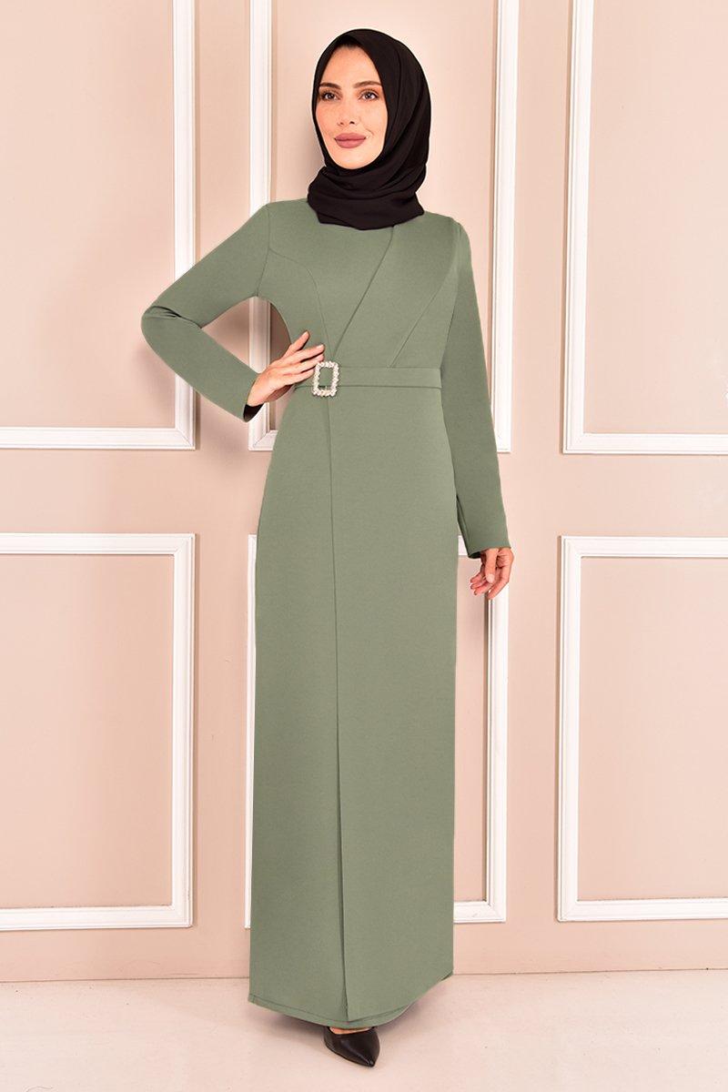 Moda Merve Mint Tokalı Abiye Elbise