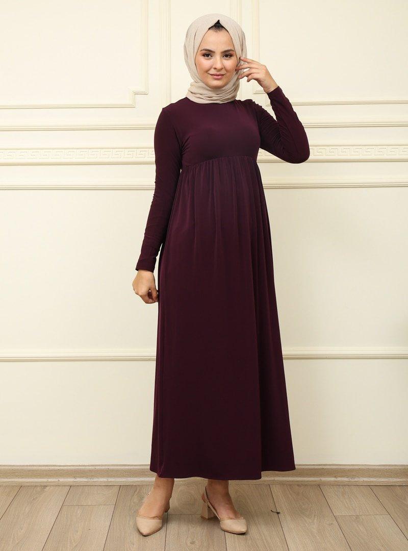 Moda Dua Mürdüm Beli Büzgülü Elbise