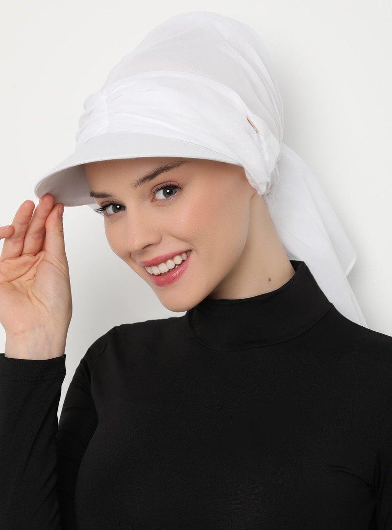 Tulipa Turban Beyaz Şapkalı Bone Hazır Türban