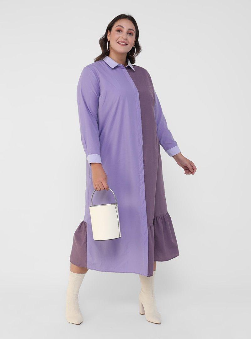 Alia Tonlu Lila Büyük Beden Gizli Düğmeli İki Renkli Elbise