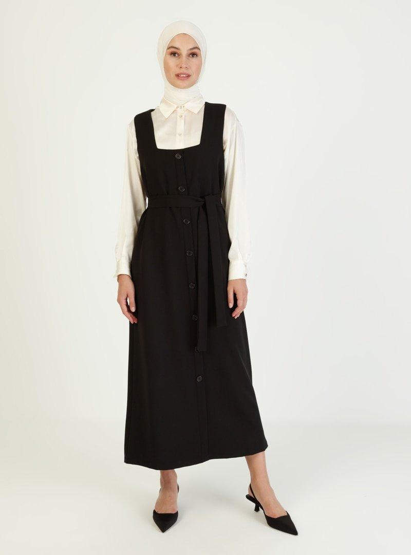 İnşirah Siyah Kuşak Detaylı Kolsuz Elbise