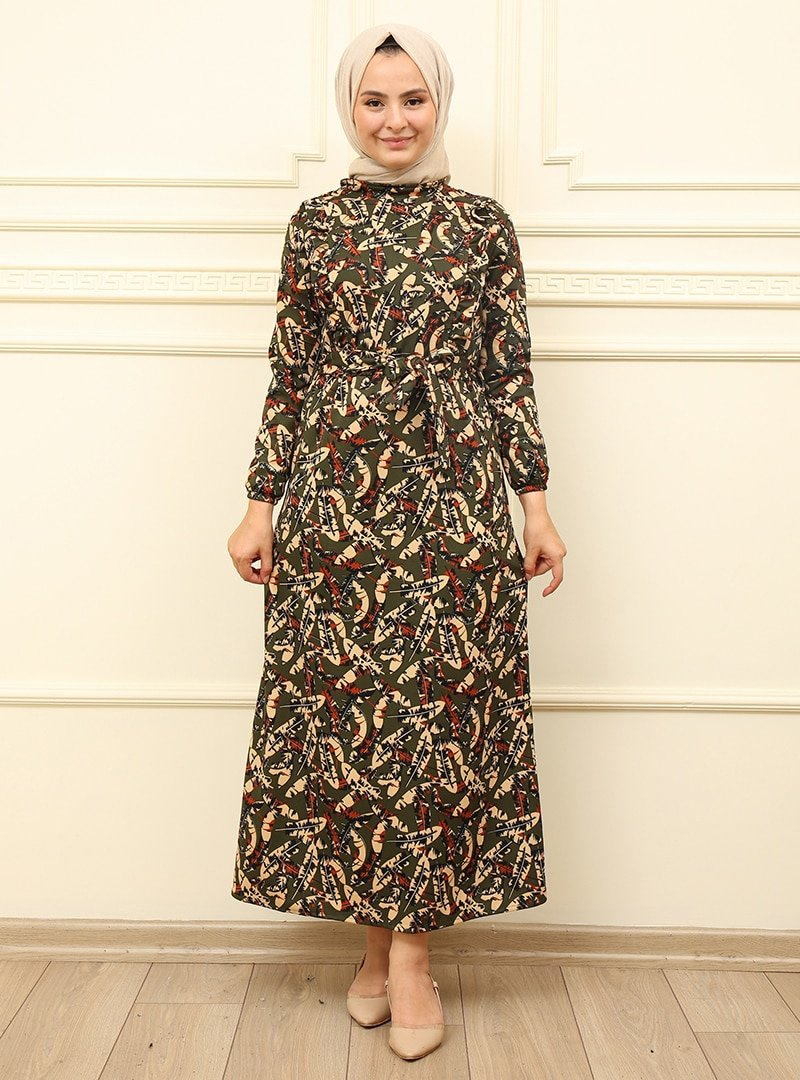 Moda Dua Haki Fırfır Desenli Elbise