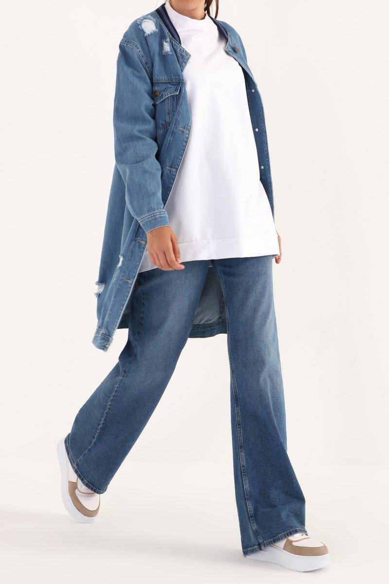 Allday Mavi Yakası Ribanalı Cepli Denim Ceket
