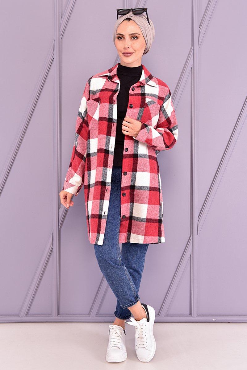 Moda Merve Kırmızı Oduncu Gömlek