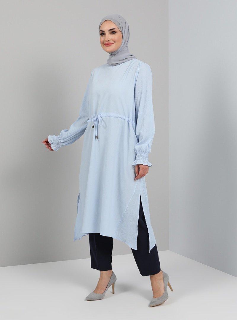 Tavin Mavi Beli Bağcıklı Yırtmaçlı Tunik