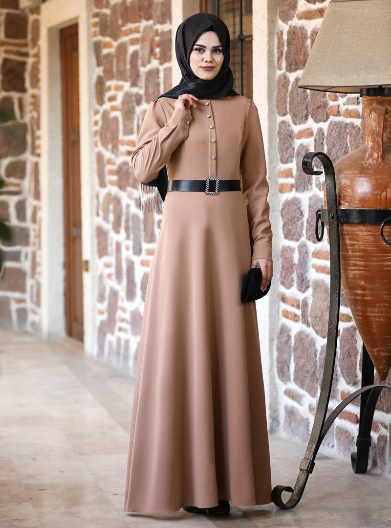 Ahunur Camel Masal Abiye Elbise