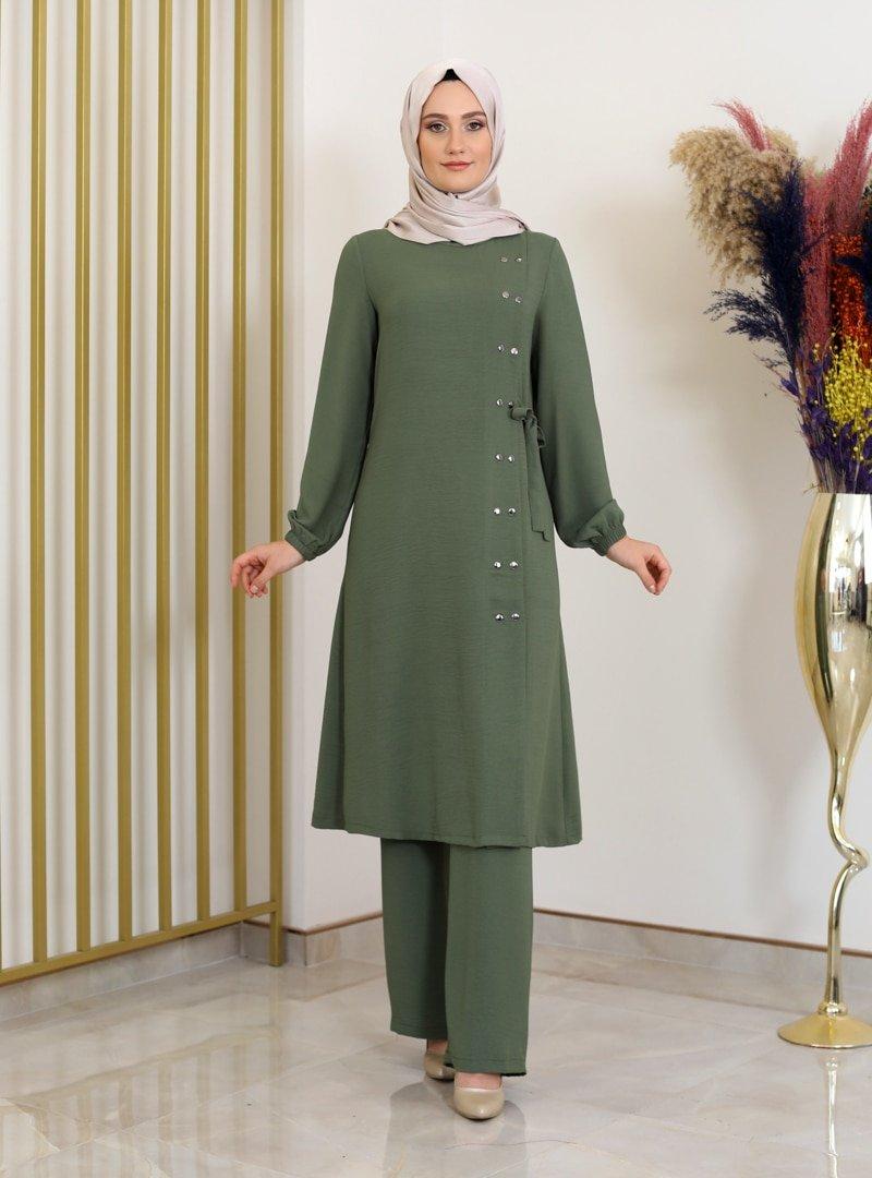 Fashion Showcase Design Haki Çıtçıt Detaylı Tunik & Pantolon İkili Takım