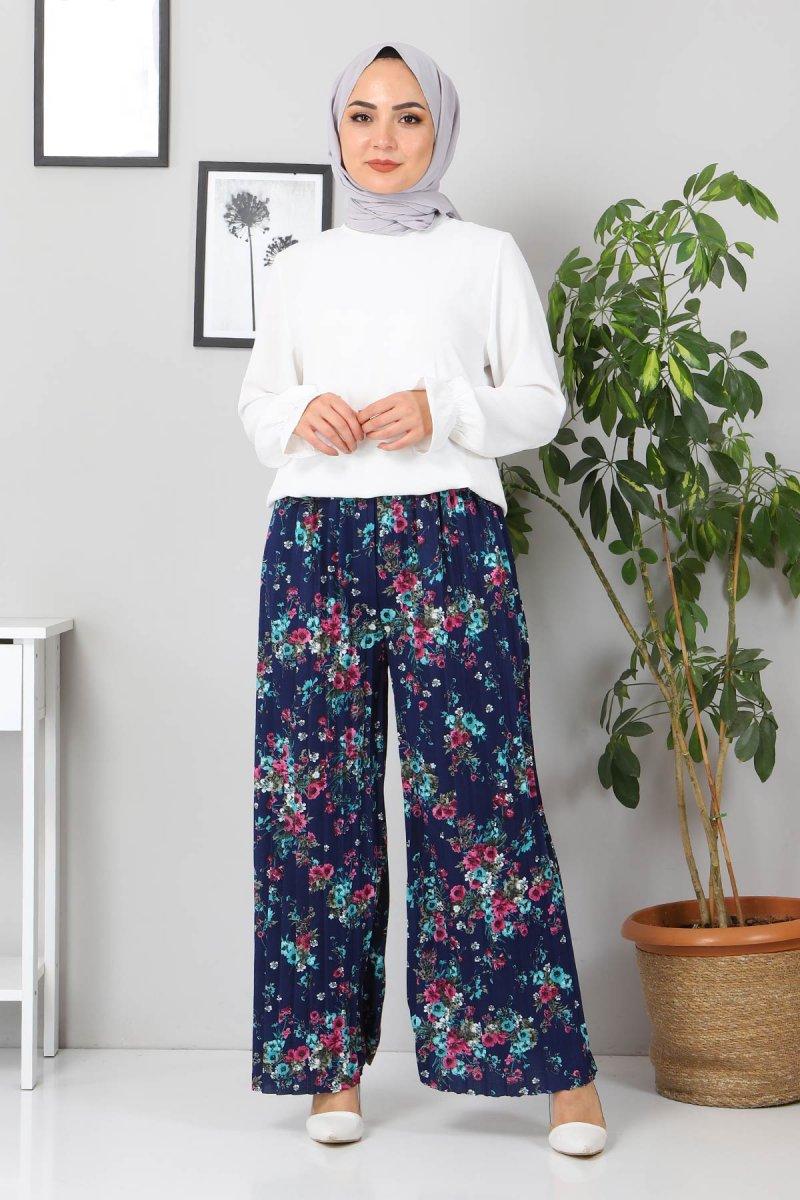 MISSVALLE İndigo Çiçekli Piliseli Pantolon