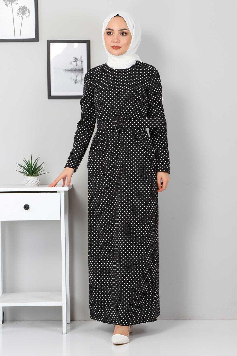 MISSVALLE Siyah Kemerli Pileli Elbise