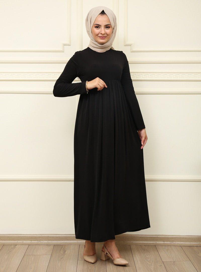 Moda Dua Siyah Beli Büzgülü Elbise