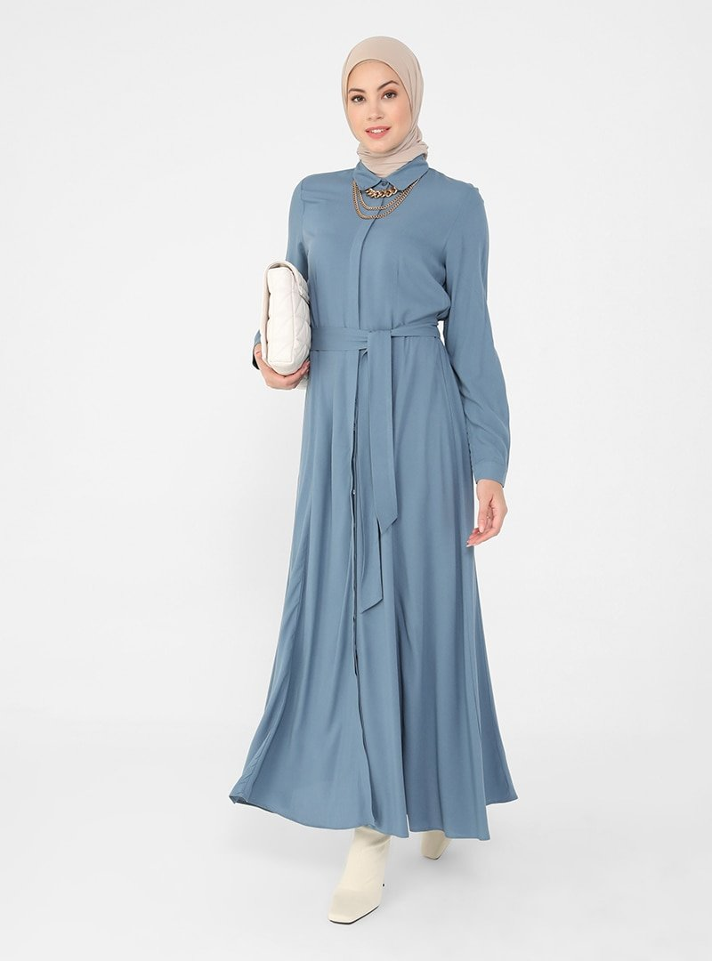 Refka İndigo Doğal Kumaşlı Eteğe Doğru Açılan Gömlek Elbise