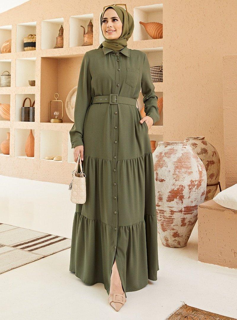 Neways Haki Kemer Detaylı Elbise