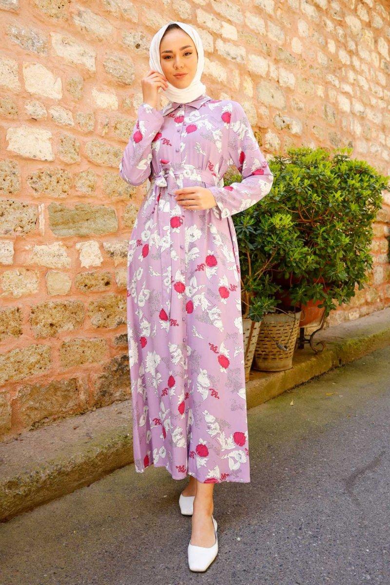 In Style Lila Çiçek Desen Kuşaklı Dokuma Elbise